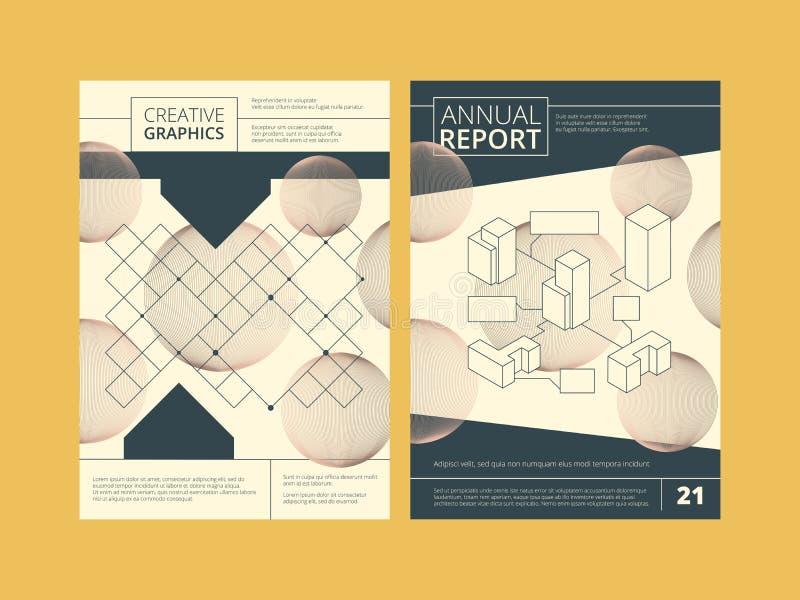 年终报告盖子 业务报告模板与抽象传染媒介形状的您的文本的设计项目和地方 向量例证