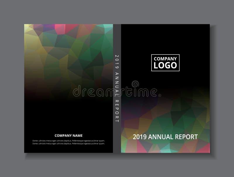 年终报告2019书设计前面和封底模板,黑灰色彩虹摘要低多角形背景 库存例证