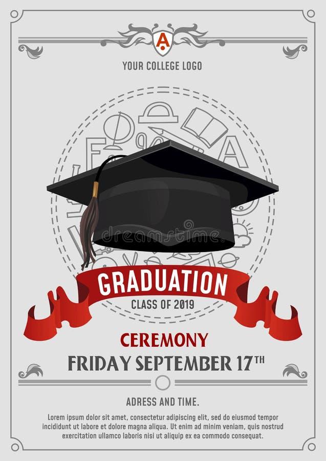 2019年贺卡或邀请设计毕业类与飞行帽子和装饰元素的 祝贺毕业生 库存例证