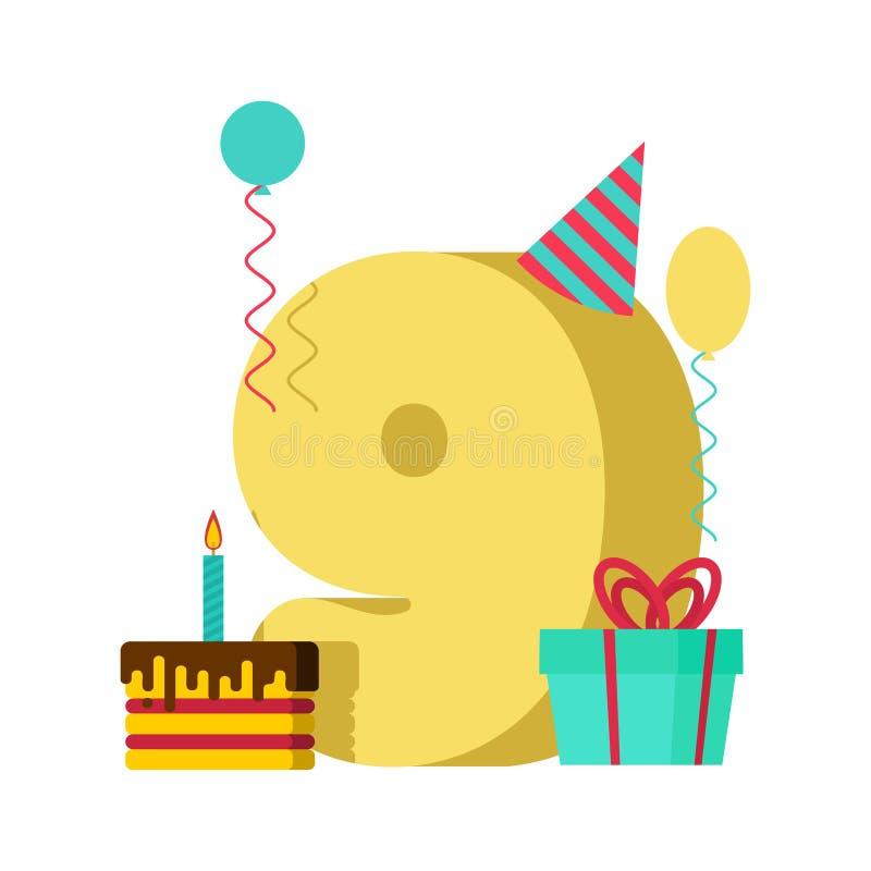 9年贺卡生日 第9次周年庆祝Templ 库存例证