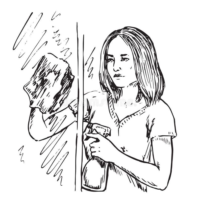 年轻与清洁布和洗涤剂的主妇洗涤的窗口 皇族释放例证