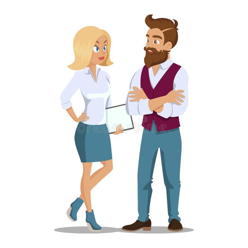 年轻专业队 商人制定计划会议,会议概念 业务会议年轻雇员 向量例证