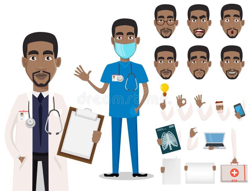 年轻专业非裔美国人的医生 皇族释放例证