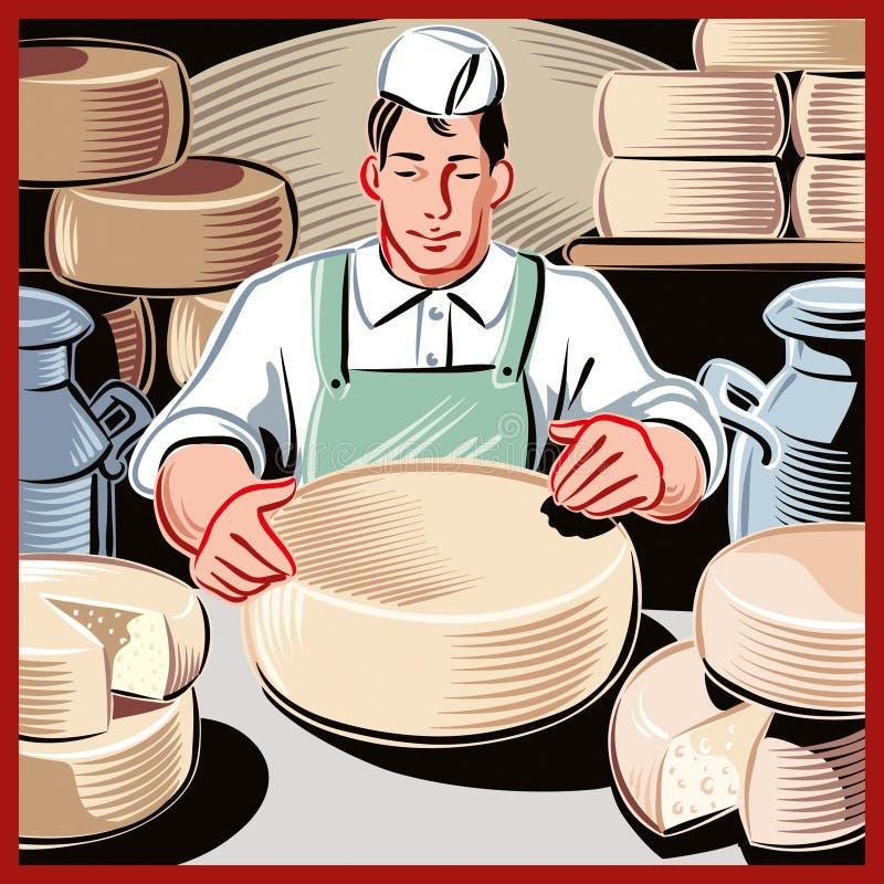 年轻乳酪制造者 向量例证
