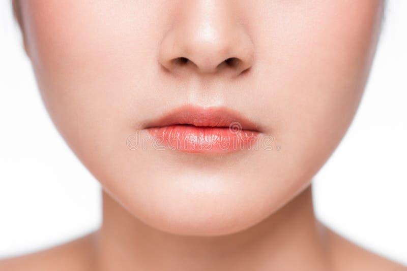 年轻亚洲妇女关闭 完善的自然嘴唇构成 免版税库存图片