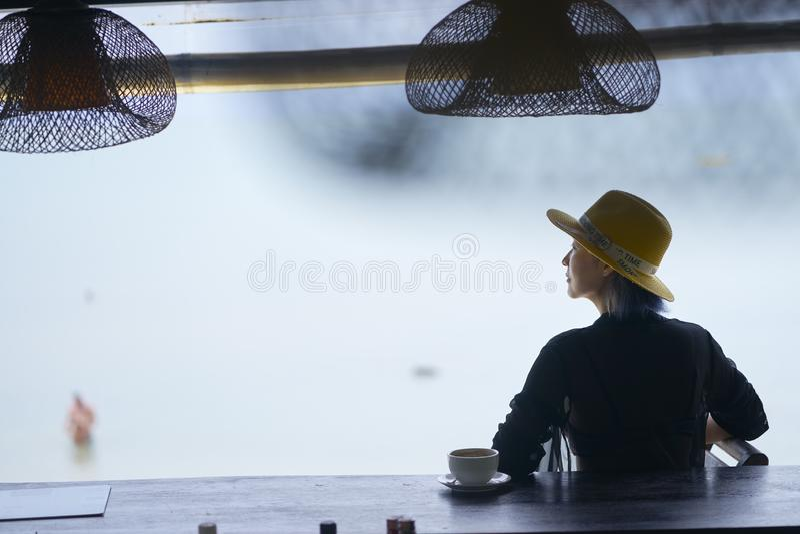 年轻亚洲秀丽开会背面图,放松在海滩酒吧在假期 免版税库存照片