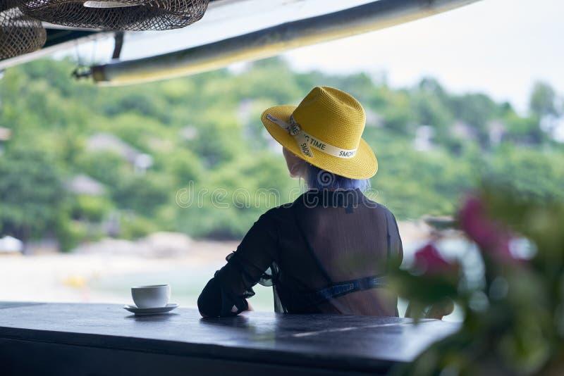 年轻亚洲秀丽开会背面图,放松在海滩酒吧在假期 库存图片
