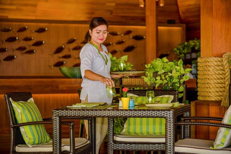 年轻亚洲美丽的女服务员服务桌在餐馆 库存图片