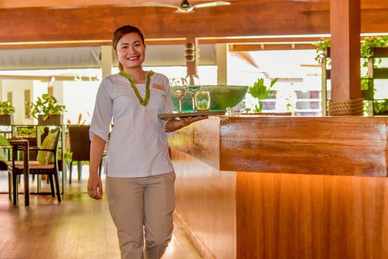 年轻亚洲美好女服务员微笑 免版税库存图片