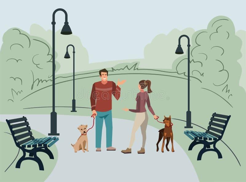 年轻人、男人和妇女,步行在有他们的狗的公园早晨 向量例证