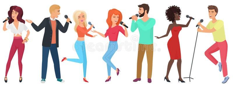 年轻人与话筒的跳舞的星唱歌和 女孩和人获得乐趣在卡拉OK演唱俱乐部传染媒介例证 向量例证