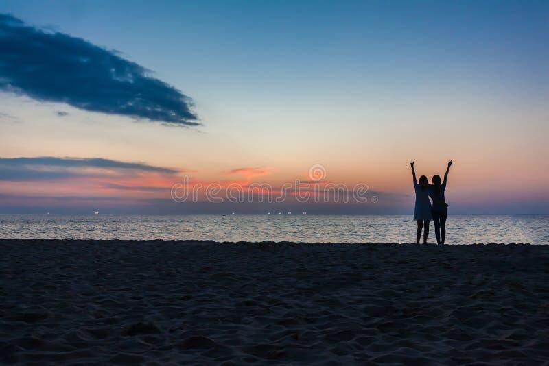 年轻人两个女孩获得在海滩的乐趣反对日落的背景 库存图片