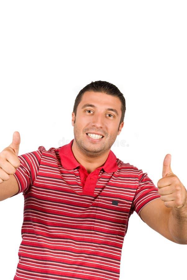年轻人产生翘拇指 图库摄影