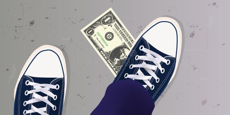 年轻人发现了在地面上的一个美金并且投入了他的脚  向量例证