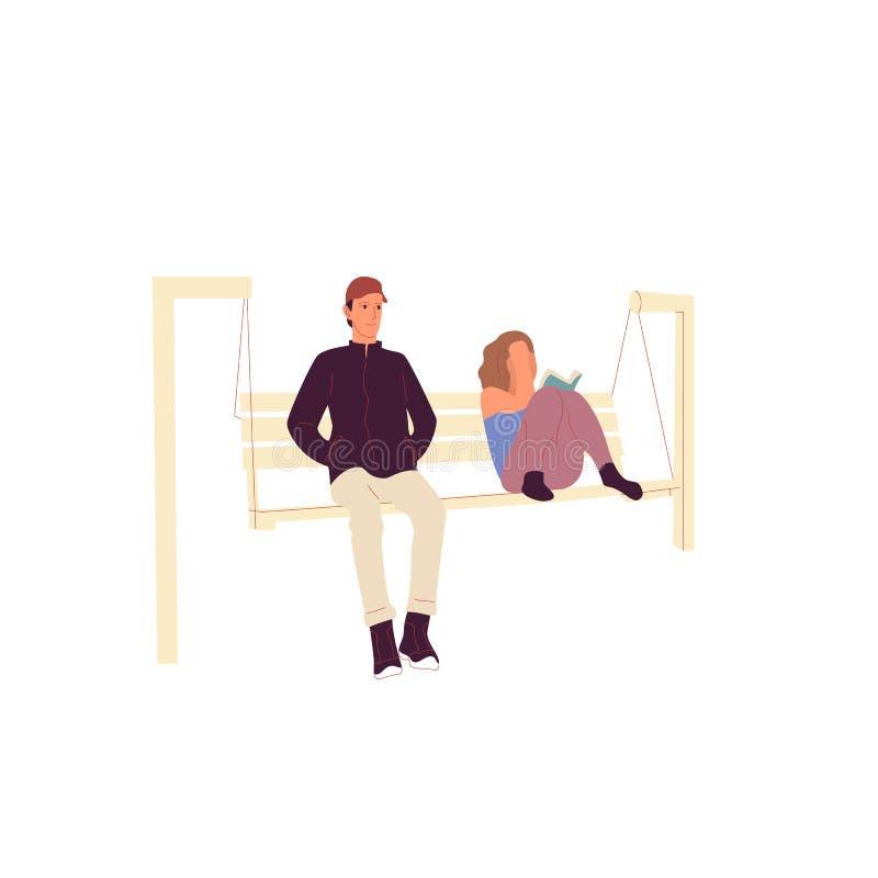 年轻人和一个女孩字符在偶然成套装备坐公园长椅和看书 : 五颜六色平的样式 向量例证