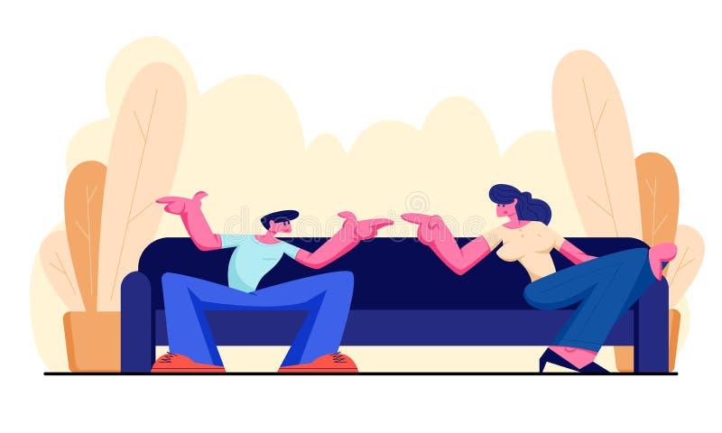 年轻人和妇女在家坐有的沙发活跃交谈 聊天的人们,谈论,家庭时间 向量例证