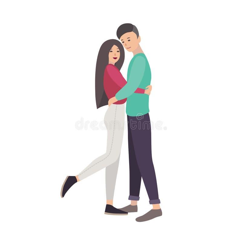 年轻人和妇女在拥抱现代的便衣穿戴了一起站立和 夫妇逗人喜爱的爱 平的动画片 库存例证