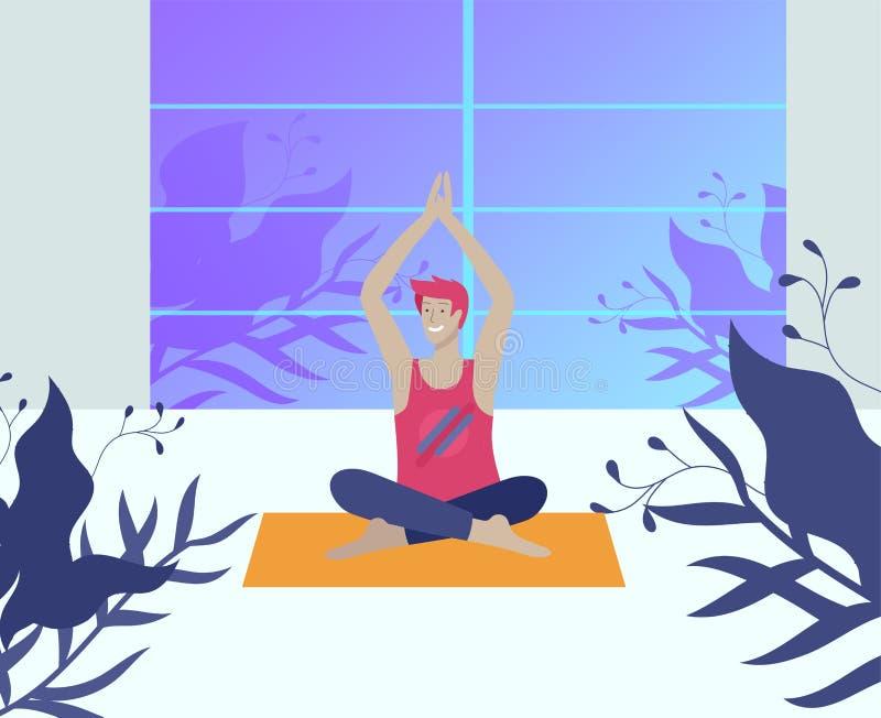 年轻人和妇女思考,坐在瑜伽姿势,在家执行有氧运动锻炼 物理和精神 向量例证