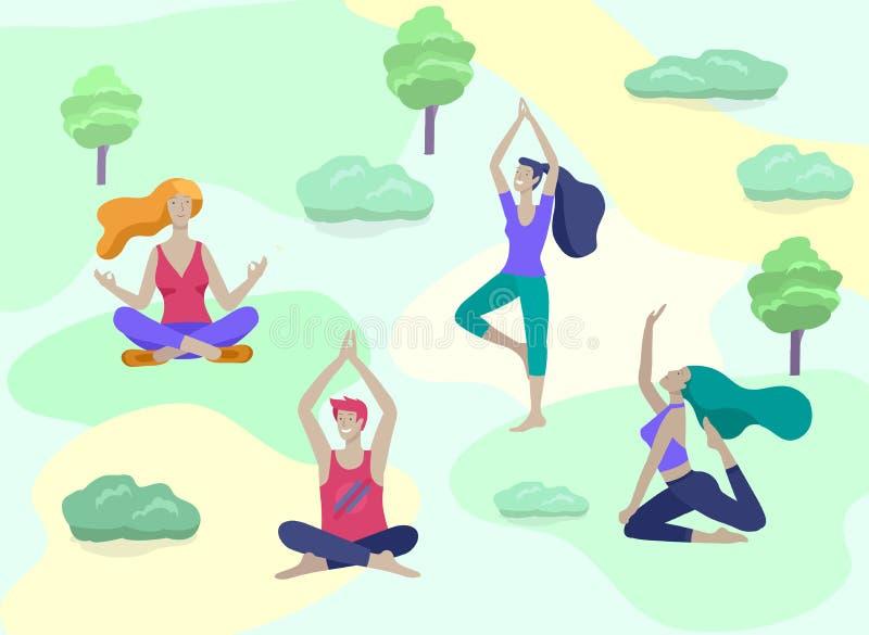 年轻人和妇女思考,坐在瑜伽姿势,在家执行有氧运动锻炼 物理和精神 库存例证