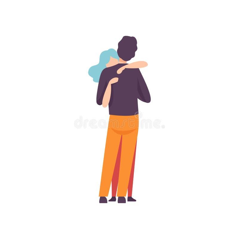 年轻人和妇女拥抱的爱的,愉快的浪漫夫妇在日期,后面看法传染媒介例证 向量例证