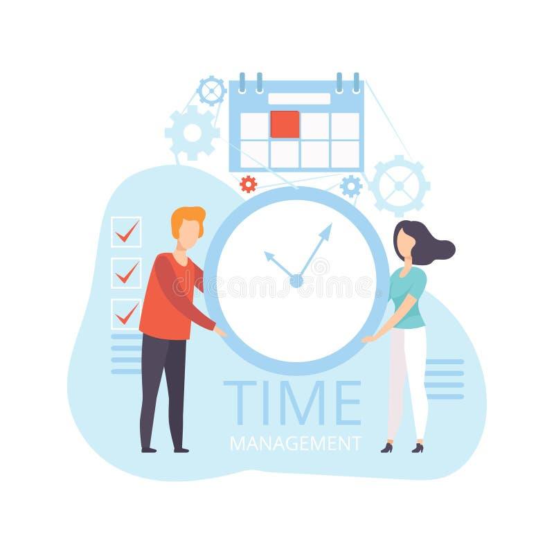 年轻人和妇女藏品壁钟,商人计划,组织,控制上班时间,企业概念 皇族释放例证