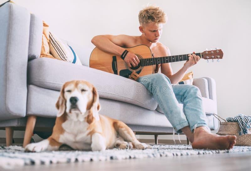 年轻人在吉他使用在家坐沙发和小猎犬 库存图片