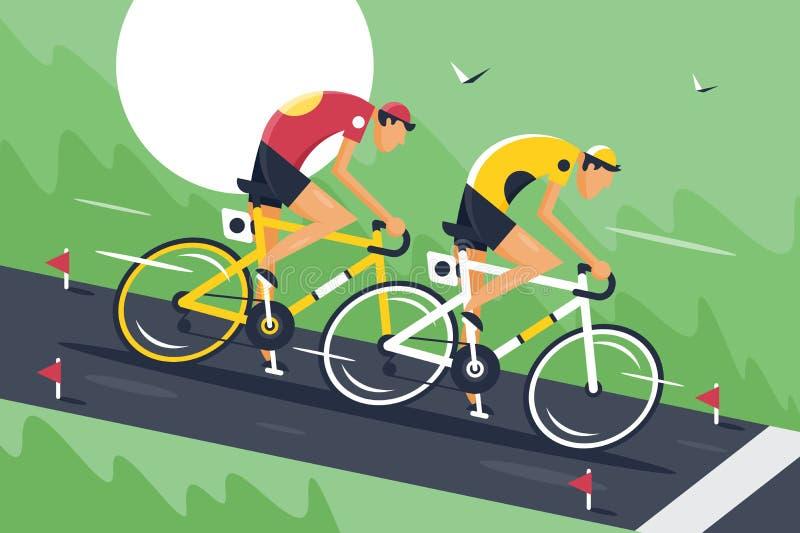 年轻人在快速地运动服和自行车盔甲乘驾循环的竞争中 向量例证