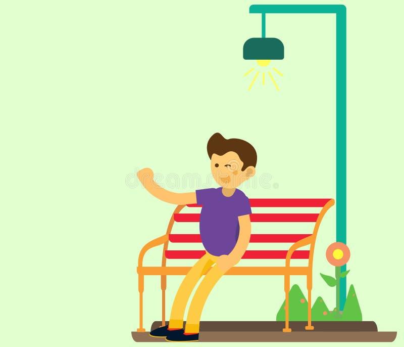 年轻人在挥动和穿紫色衣裳的庭院椅子坐 平的设计字符 库存照片
