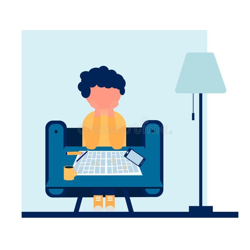 年轻人在椅子后坐并且强调与工作的广告 皇族释放例证