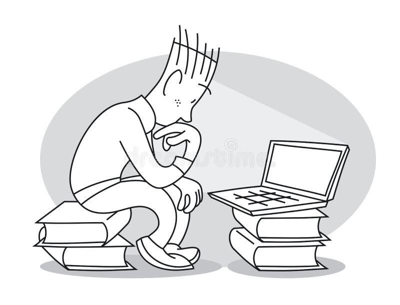 年轻人在膝上型计算机前面坐 皇族释放例证