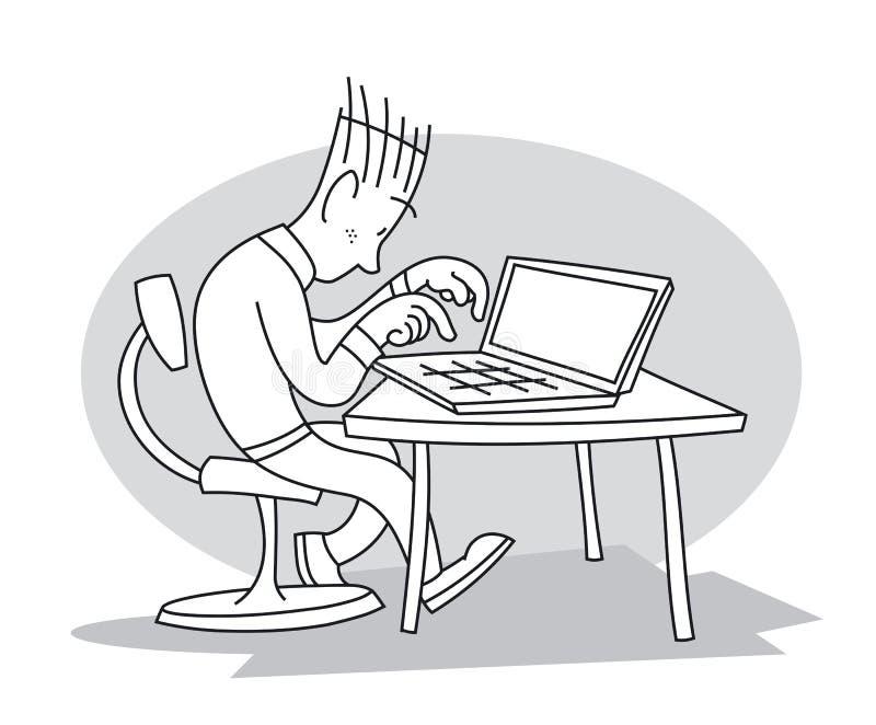 年轻人在膝上型计算机键入 皇族释放例证
