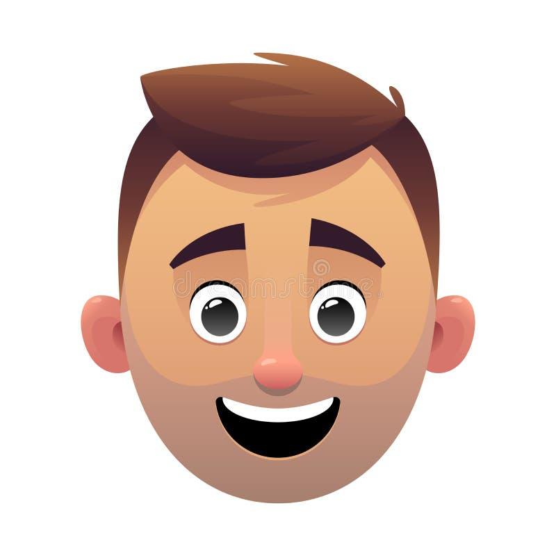 年轻人头具体化动画片面孔字符 皇族释放例证