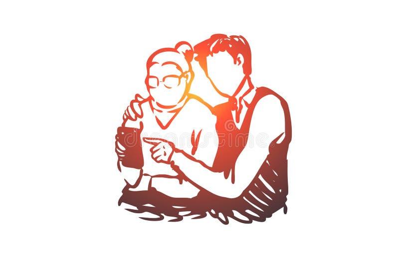 年轻人学会使用电话老妇人概念 手拉的剪影被隔绝的例证 向量例证