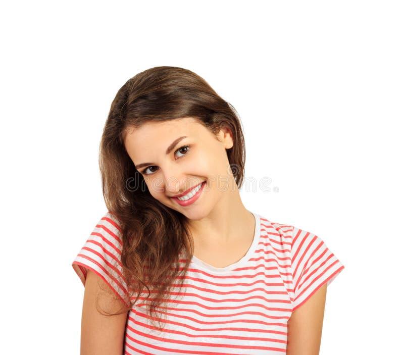 年轻人引诱的微笑的可爱的brunnete妇女画象  在白色背景隔绝的情感女孩 免版税库存图片