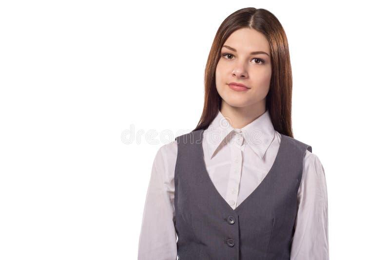 年轻人微笑的可爱的妇女、学生或者会计或者经理 免版税库存图片