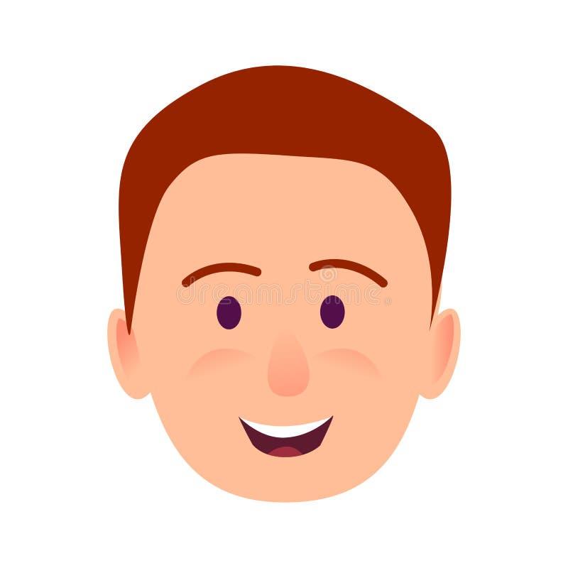 年轻人微笑的面孔平的传染媒介象 库存例证