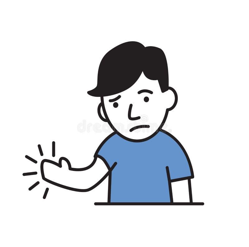年轻人感觉痛苦或麻木在他的手上 简单的样式象 平的传染媒介例证 查出在白色 向量例证