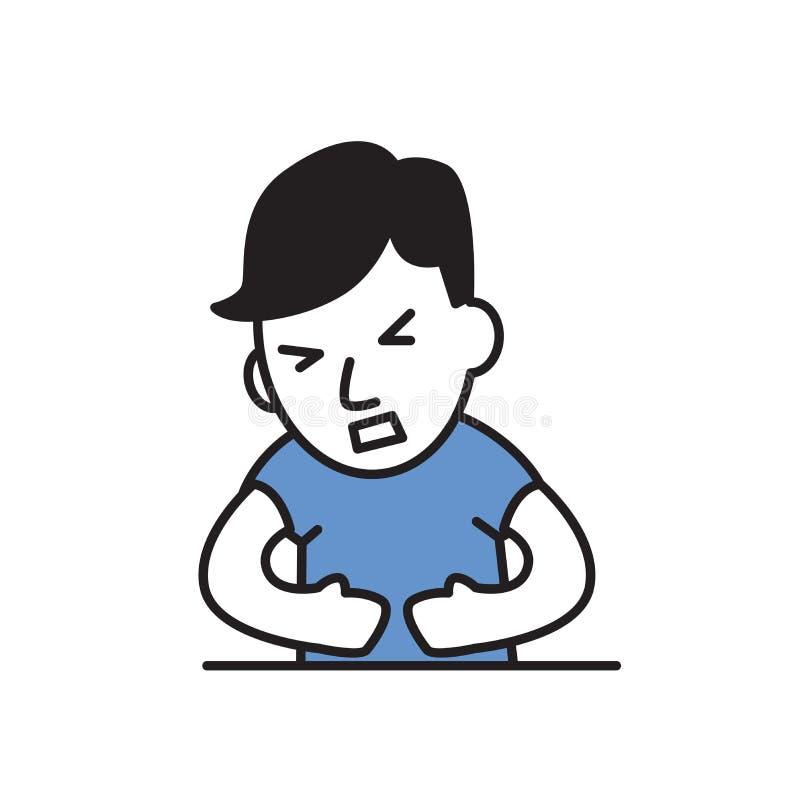 年轻人感觉的stomack痛苦 动画片设计象 五颜六色的平的传染媒介例证 背景查出的白色 向量例证