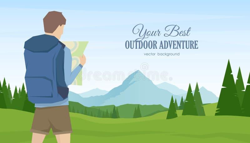 年轻人旅客和远足者有地图的在手上在夏天山使背景环境美化 库存例证