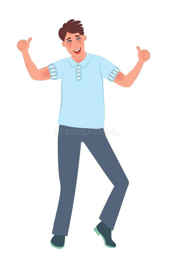 年轻人是愉快的显示一切超级的赞许 成功的人民 r 皇族释放例证