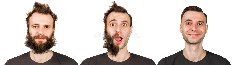 年轻人有胡子的和没有胡子 在刮脸前后的人 设置被隔绝在白色背景 图库摄影