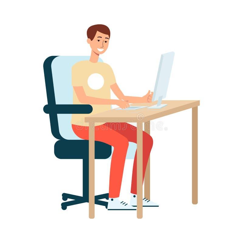 年轻人棕色毛发的艺术家和设计师在一个图形输入板坐在计算机并且画 向量例证