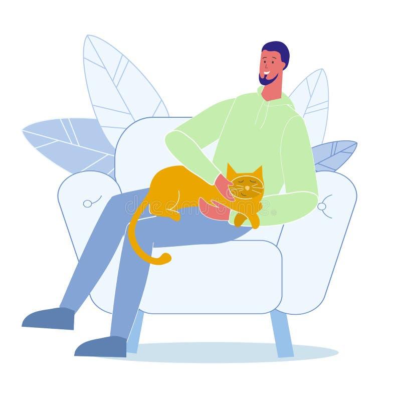 年轻人爱抚猫平的传染媒介例证 向量例证