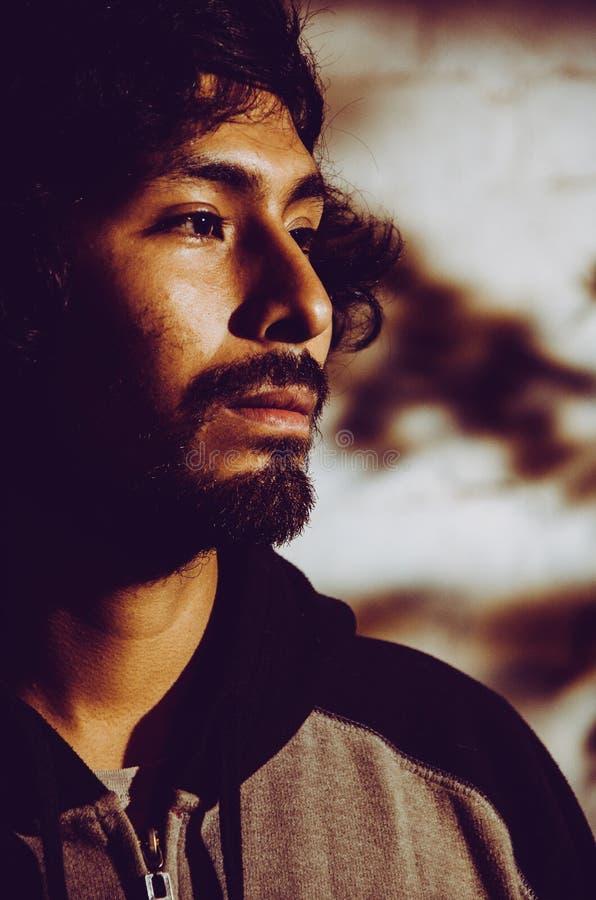 年轻人画象有胡子佩带的衬衣的和有树的阴影的 图库摄影