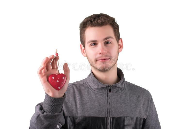 年轻人画象有装饰心脏的在白色 库存图片