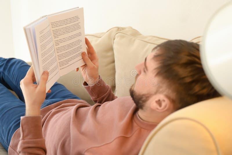 年轻人看书,当在家时说谎在沙发 库存照片