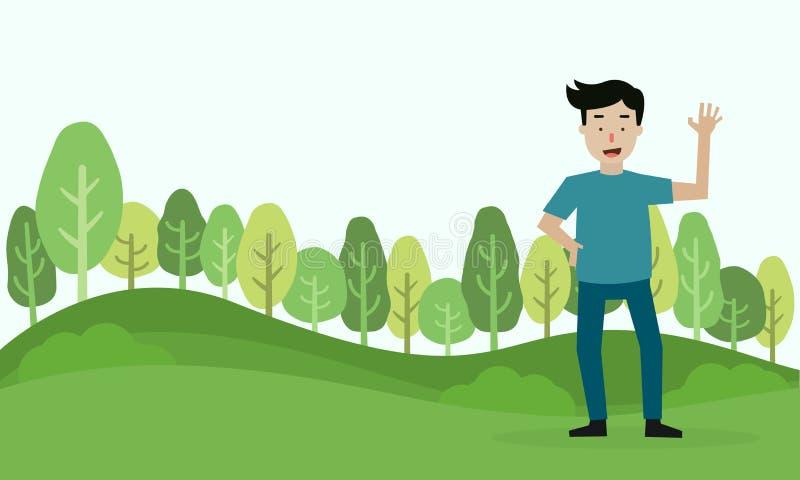 年轻人立场和在绿色森林背景中招呼 库存例证