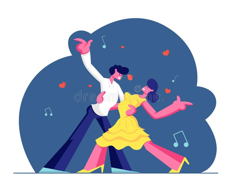 年轻人结合与探戈跳舞、人活跃生活方式、男人和妇女的消遣时间爱恋或友好的联系的 向量例证