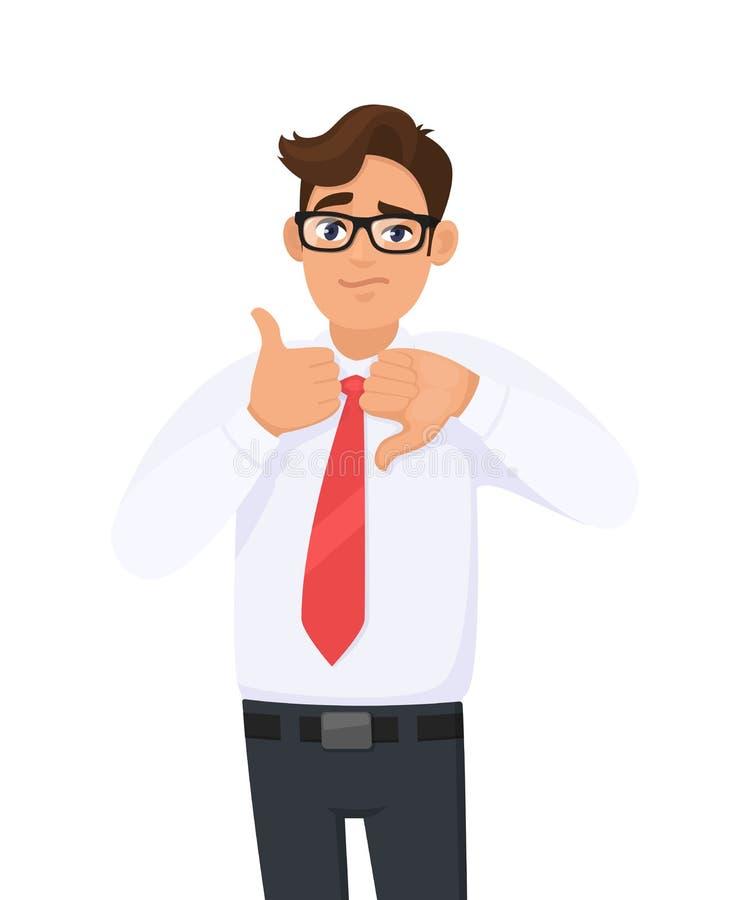 年轻人赞许和拇指在标志/标志下的陈列/打手势/做 正装和红颜色领带的人 ?? 库存例证