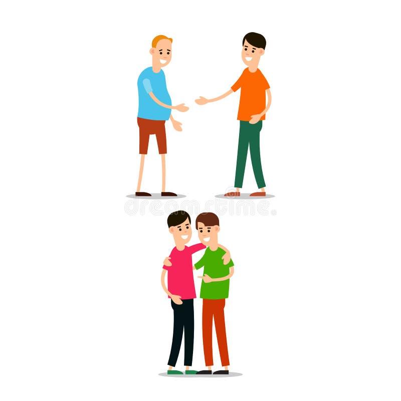 年轻人身分和互相招呼 青年人hugg其中每一 库存例证